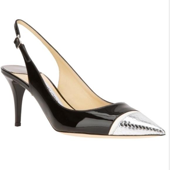 ab5e1b60f786 Jimmy Choo Shoes - Jimmy Choo Black Patent Slingback Heels 10.5